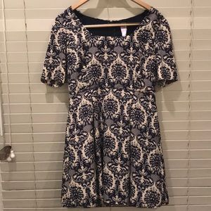Floral Navy and Cream Dress